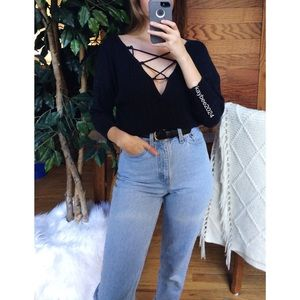 🌿 Free People Cozy Ribbed Lace Up Sweater 🌿